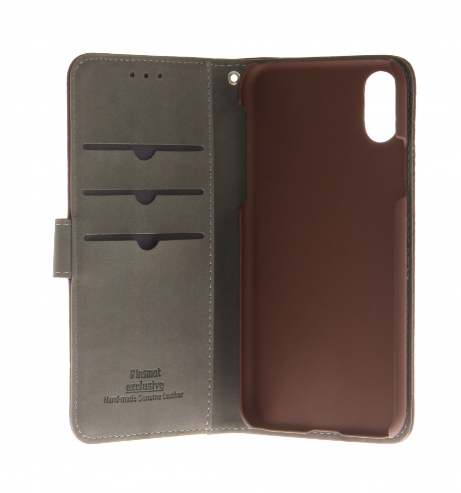 EXCLUSIVE FLIP CASE FOR IPHONE X COFFEE BROWN